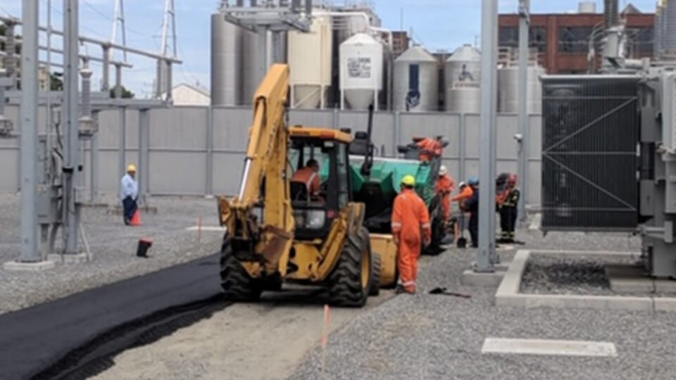 backhoe on construction site